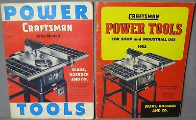 Pair of Craftsman Power Tools Catalogs 1952 & 1953 Models Sears Roebuck and Co.