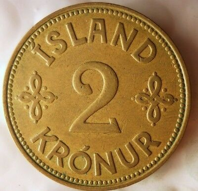 1940 ICELAND 2 KRONUR - World War II Era - Low Mintage AU - Lot #F19