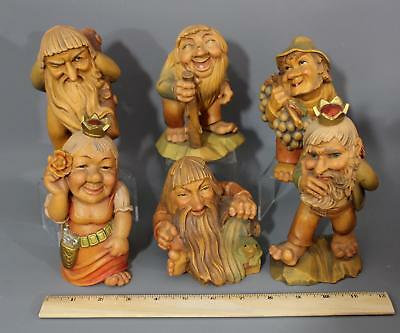 6 Hand Carved Antique ANRI Salvan Troll Figures, King and Queen