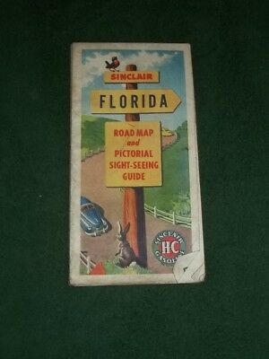 1940's Sinclair Gasoline Florida Road Map