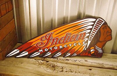 "Indian Motorcycle Chief Embossed 24"" Metal Tin Sign Vintage Rustic Garage Dealer"