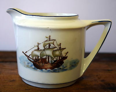 Vintage Milk Jug with Sailing Ship Pattern - White with Blue Edging - Creamer