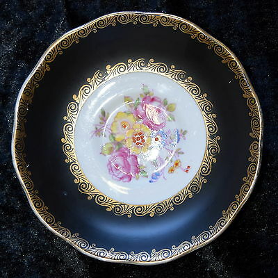 Replacement ROYAL ALBERT Saucer Black & Gold Filigree Edging, Floral Posy Centre