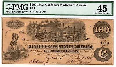 T-39 PF-1 $100 Confederate Paper Money -1862 - Hoyer & Ludwig - PMG Choice EF 45