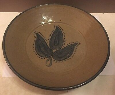 """Rare VERNON OWENS Hand Signed Plate/Bowl 1991 Jugtown Ware Pottery 10"""""""
