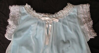 vintage 1950s nightgown by Robin Ann, size small, pastel blue double layer nylon