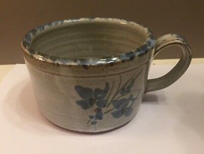 """Marked Owens Pottery Seagrove N. C.  Large Coffee or Soup Cup 5"""" X 3"""" Deep"""