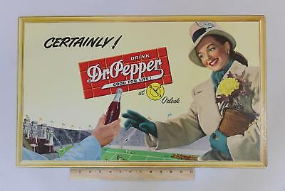 Lrg Antique 1940s Dr. Pepper Soda Football Game Advertising Cardboard Sign NR
