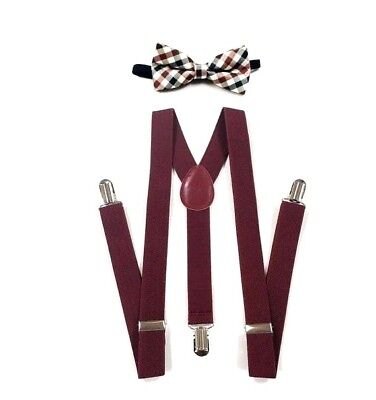 New Baby Toddler Kids Child Burgundy Suspenders Bow Tie Plaid Sets USA SELLER