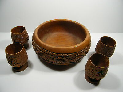 Rare Beautiful Vintage Decorative Hand Carved Round Wood Bowl and 4 Cups set.