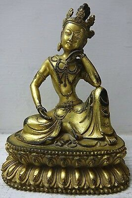 Very Beautiful Chinese Gilt Bronze Buddha Temple God  - Very Rare - L@@k