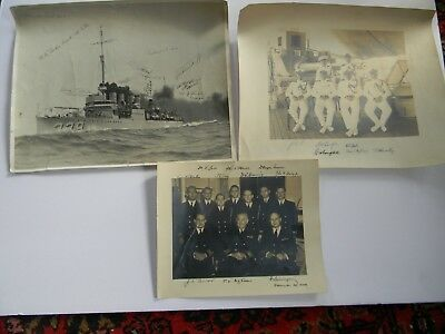 WWII USN PHOTOGRAPH LOT - LARGE PHOTO'S SIGNED by ADMIRAL McCREA & HIS OFFICERS