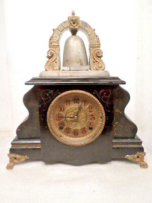 Most Unusual Gilbert 'Curfew' Striking Bell Top Mantle Clock Circa 1890