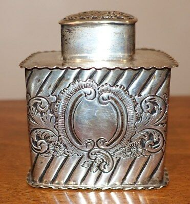 Antique Sterling Silver Tea Caddy/box W/cover - Ornate Chased English Hallmarks