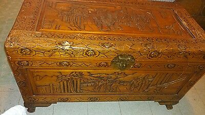 """Rare Antique Asian Hand Carved Camphor Wood Chest Trunk Large 39"""""""