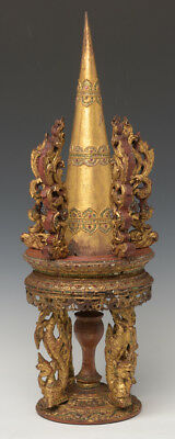 19th Century, Mandalay, Antique Burmese Wooden Offering Set with Gilded Gold
