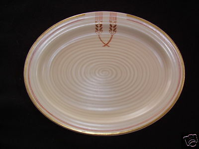 Clarice Cliff Oval Plate In Wheat Pattern