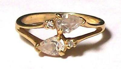 Vintage COSTUME COCKTAIL RING w/CLEAR TEAR DROP STONES-SZ 7