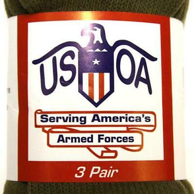 USOA Military Boot Socks Mens Calf Length Anti-Microbial 3 pair USA Made