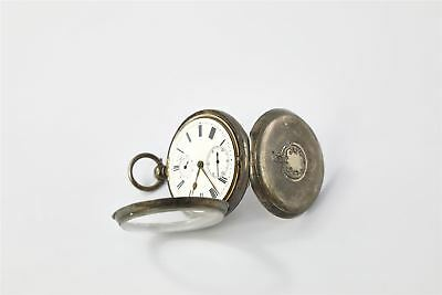 ANTIQUE STERLING SILVER CASED FUSEE MOVEMENT Pocket Watch Personalised 129g