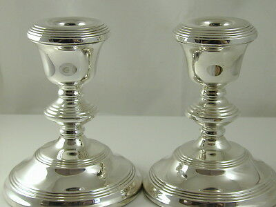 Pair Of Short Candle Sticks Vintage Sterling Silver Dated 1969 W I Broadway & Co
