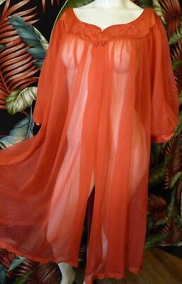 70s Shadowline RED nylon Flowing Peignoir robe L 52 bust as is