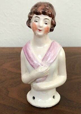 Vintage Antique Porcelian Pin Cushion Half Doll Topper-Germany