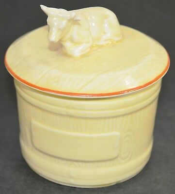 Vintage 1930s ERA Ware Hand Painted Butter/Cream Jar w/ Lid Cow Shaped Finial