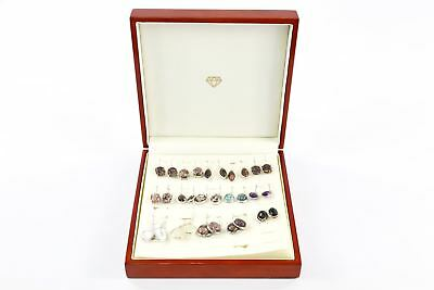 Lot of 15 x Vintage .925 STERLING SILVER Semi-Precious Stone Set Earrings -100g