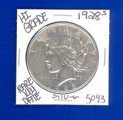 1928 S Peace Silver Dollar Coin#5043 $Hi-Grade$Genuine Us Mint$Rare Key Date