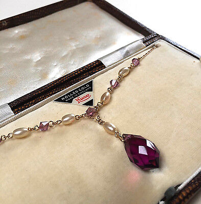 BEAUTIFUL VINTAGE ART DECO AMETHYST CRYSTAL/PEARL DROP NECKLACE (boxed)