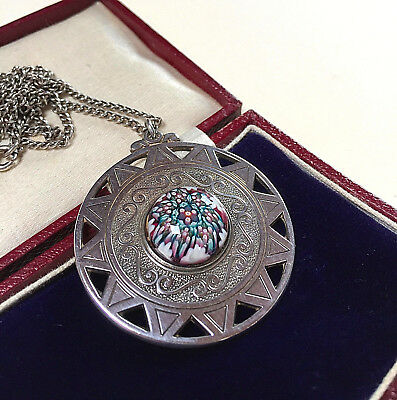 Vintage Jewellery Beautiful Scottish Sterling Silver Caithness Glass Pendant