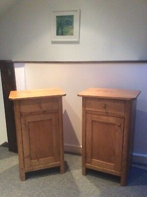 Matched pair Victorian 19th century waxed pine bedside cabinets / pot cupboards