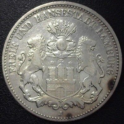 Hamburg 1906-J Silver 2 Mark -German State- Very Fine+ Km#294
