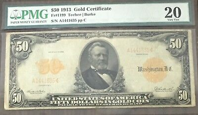 1913 $50 Gold Certificate Fr 1199 PMG VF20 P-70