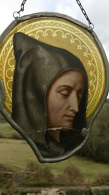 SUPERB 19thc GOTHIC STAINED GLASS WINDOW OF A HOODED MONK