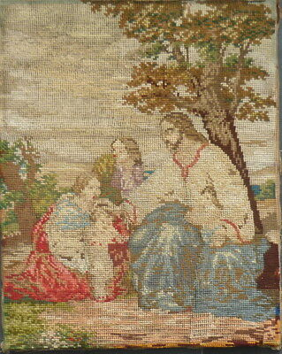 Antique Tapestry Woolwork & Needlework Picture Original  Classical Subject  VIEW