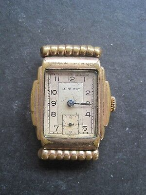 Vintage Art Deco Lord May Gents Gold Plated Swiss Watch - Spares Repair