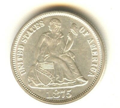 1875 Seated Liberty Dime White MS Coin 100% Original