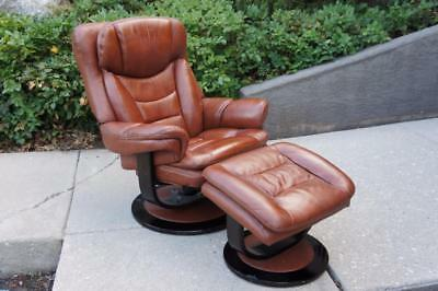 Rare Mid Century Modern Lane Stressless Recliner Leather Chair & Ottoman