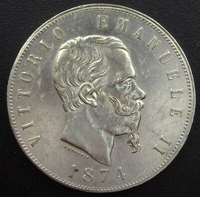 Italy 1874 Silver 5 Lire  Uncirculated Km#8.3