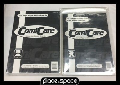 100 X Silver Age Size Polypropylene Comic Bags & Boards (110/116)