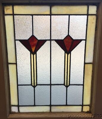 """Antique Art Deco Stained Leaded Glass Window from Chicago 25"""" by 20"""""""