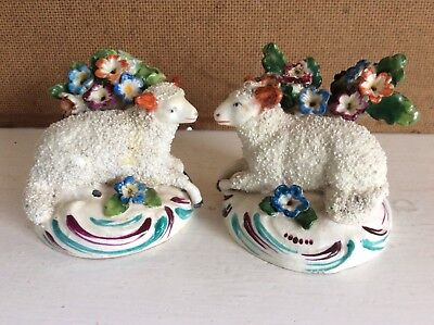 Two Vintage Staffordshire Sheep Ornaments