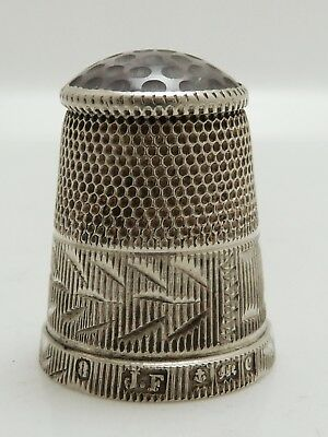 A Superb Clean Antique 1902 Solid Silver And Amethyst Thimble