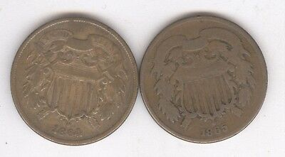 Lot of 2 - Two Cent Pieces + 1864 and 1865 + Circs + No Reserve!!