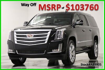 2018 Cadillac Escalade MSRP$103760 4WD ESV Platinum Sunroof DVD GPS Black 4X4 New Navigation Heated Cooled Leather 22 In Rims LWB Navigation 6.2L 17 2017 18