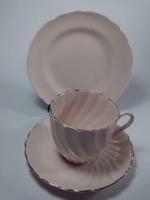 TUSCAN CHINA  PINK FLUTED TEA TRIO, Gilded, vgc