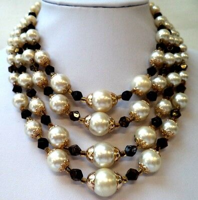 """Stunning Vintage Estate Faux Pearl Beaded White Black 15"""" Necklace!!! 8602A"""