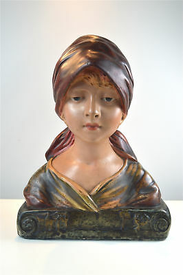 Original antique Art Deco shop display bust of a country maiden circa.1920's